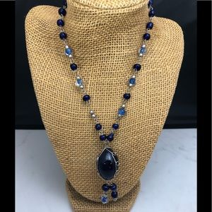 Hand designed blue Moreno style glass  necklace